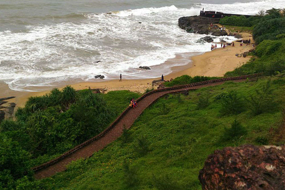 Outer wall of Bekal Fort's observation post caves in due to rain