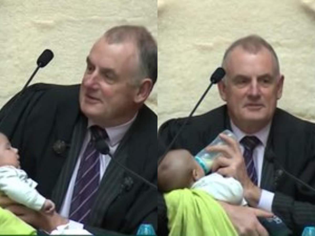 NZ speaker bottle feeds baby during session