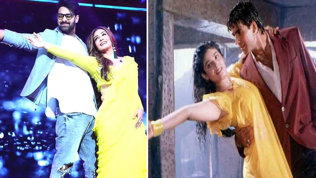 raveena-tandon-recreates-tip-tip-barsa-pani-magic-in-yellow-sari-with-saaho-star-prabhas