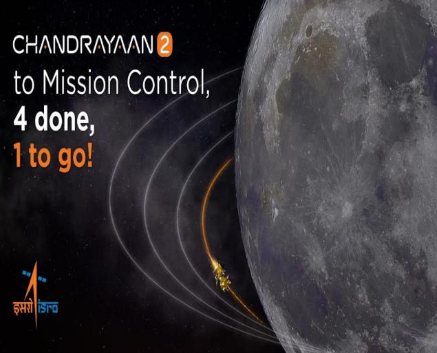 Isro performs 4th lunar-orbit manoeuvre on Chandrayaan-2