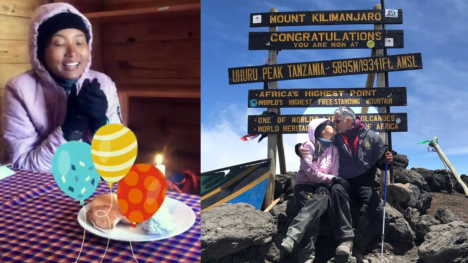 Milind Soman and wife Ankita Konwar share a kiss on top of Mt Kilimanjaro  on her 28th birthday