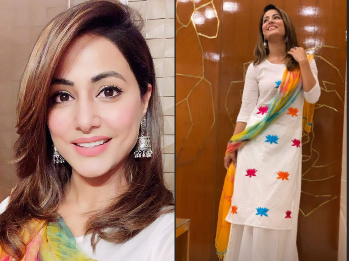 Hina Khan is a beauty in white ethnic wear as she celebrates