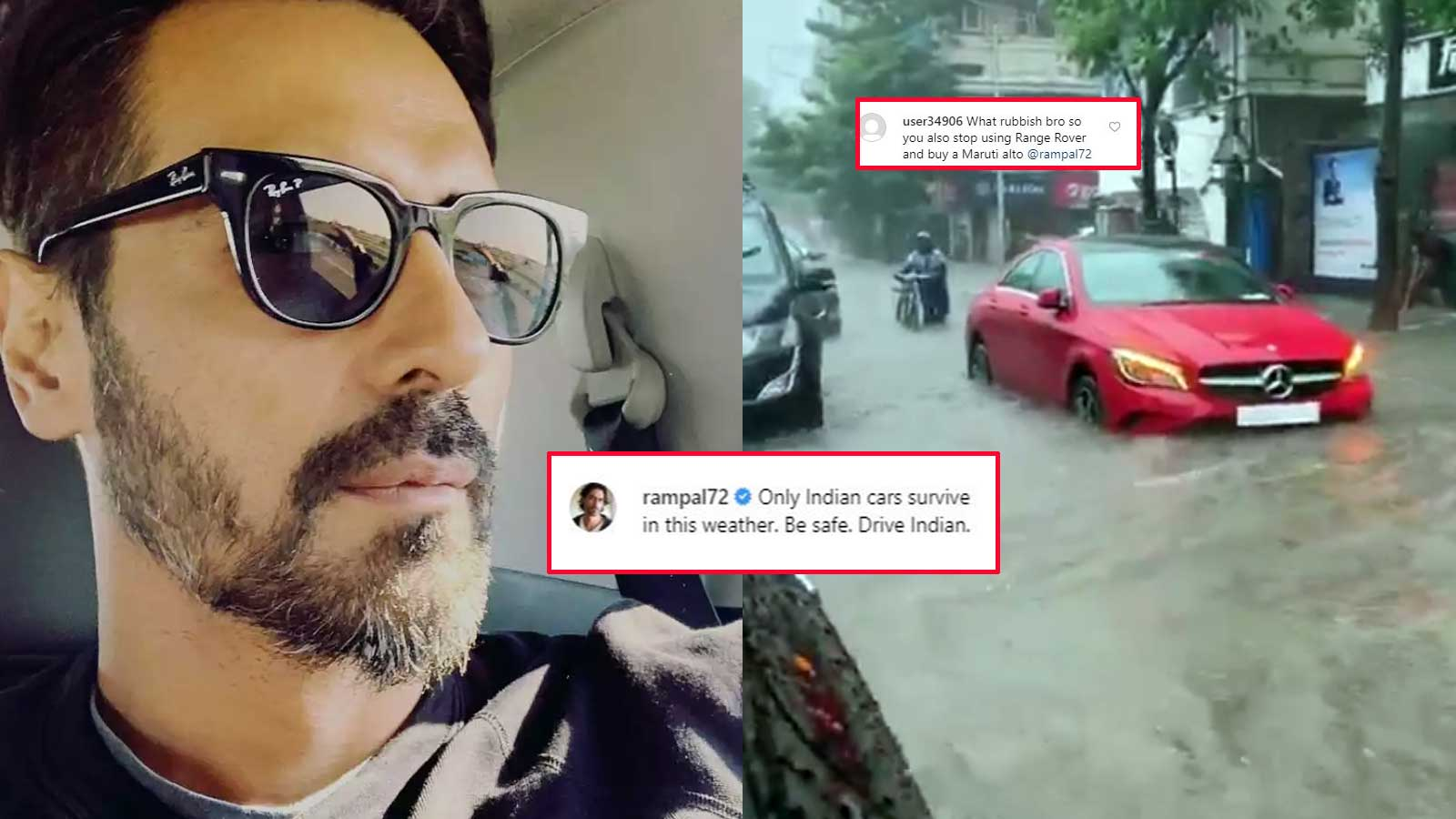 Arjun Rampal gives it back to a troll who suggests the actor is using a  foreign car to film Mumbai rains