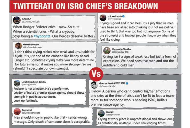 Is it OK for men to cry? ISRO Chairman K Sivan's tears spark