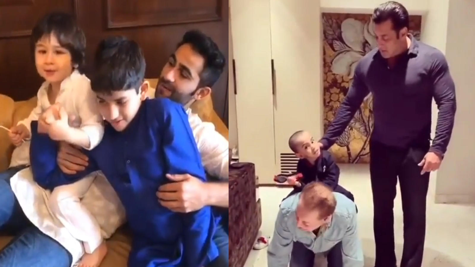 Mamu love: Taimur Ali Khan with Armaan Jain and Ahil Sharma with Salman Khan