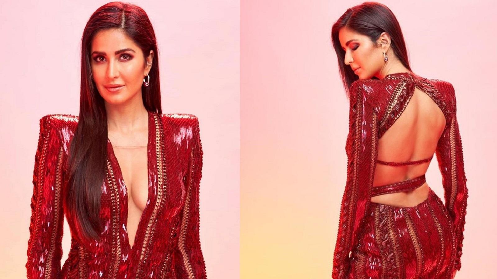 Fashion goals! Katrina Kaif looks ravishing in this maroon thigh-high slit  gown
