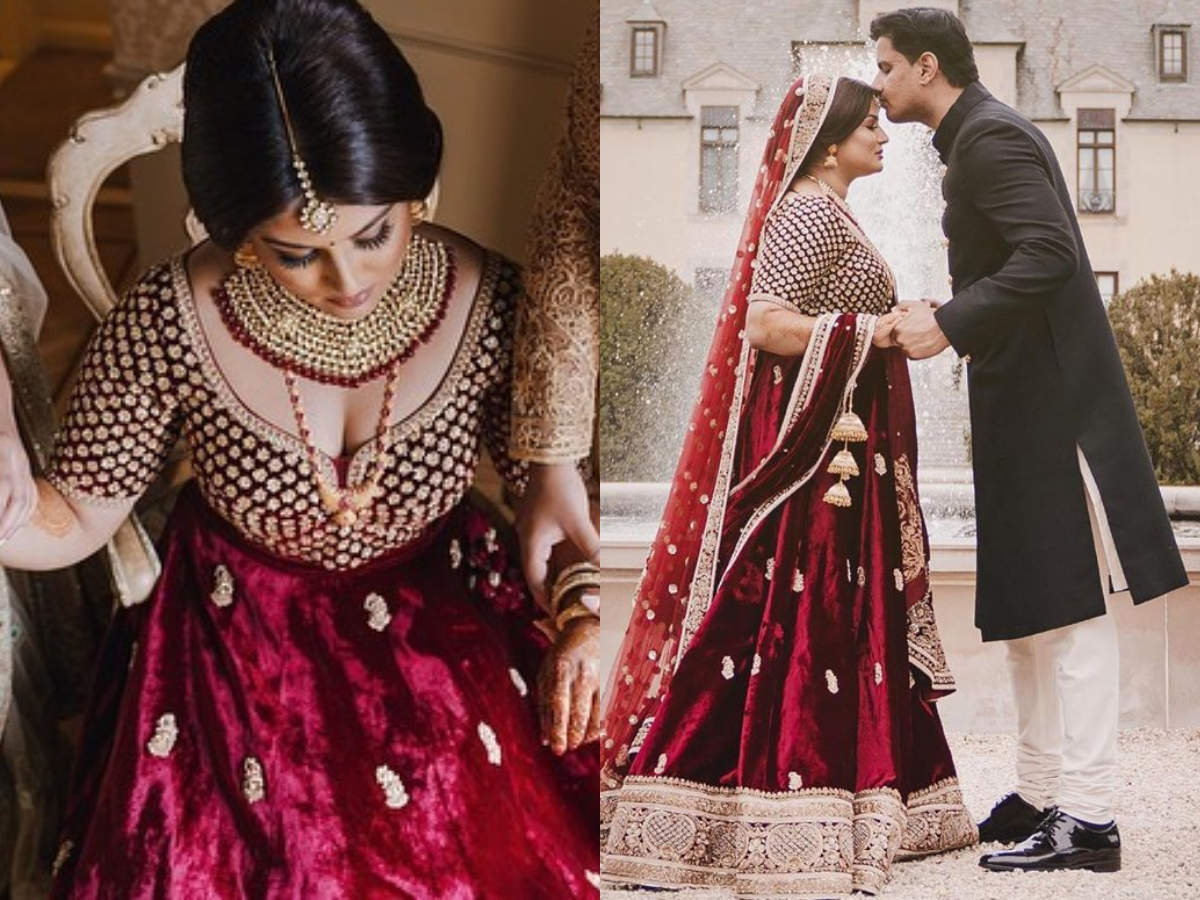 This Bride S Regal Velvet Lehenga Is Perfect For Your Winter Wedding Times Of India