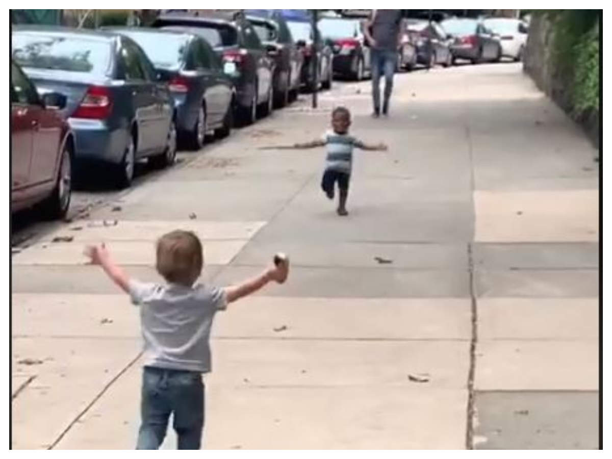 Viral video of toddlers running towards each other