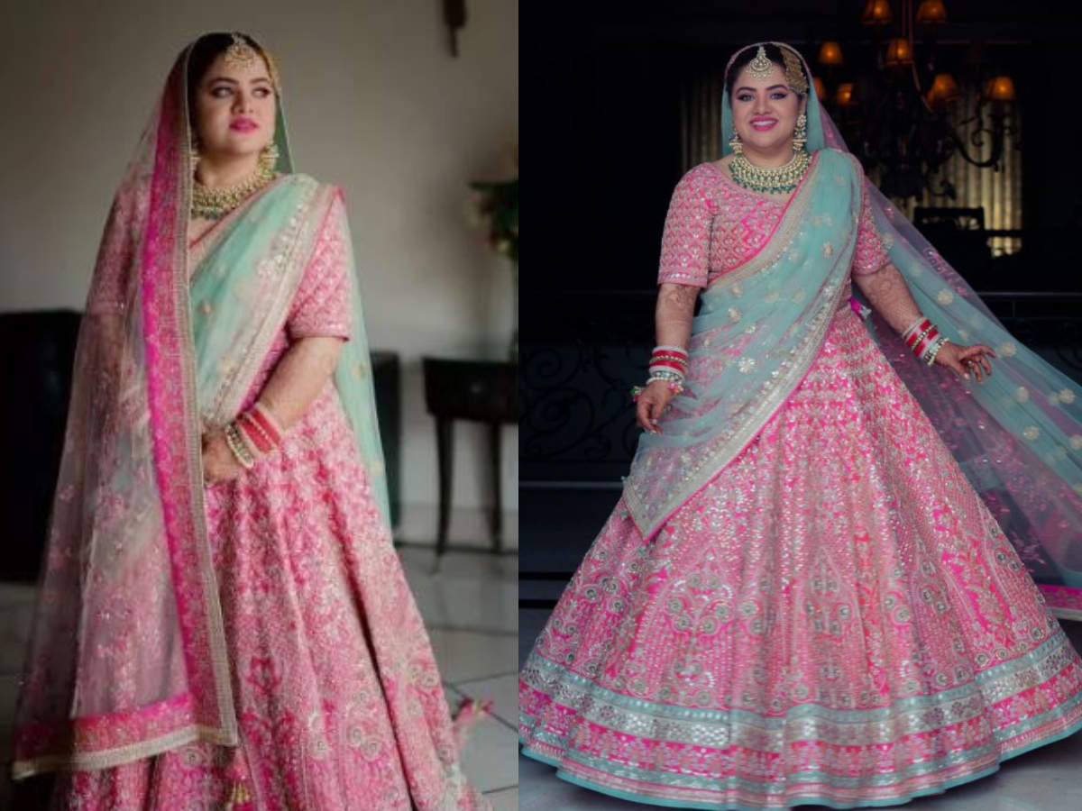 This Bride S Hot Pink Lehenga And Sky Blue Dupatta Is A Refreshingly New Colour Combination Times Of India