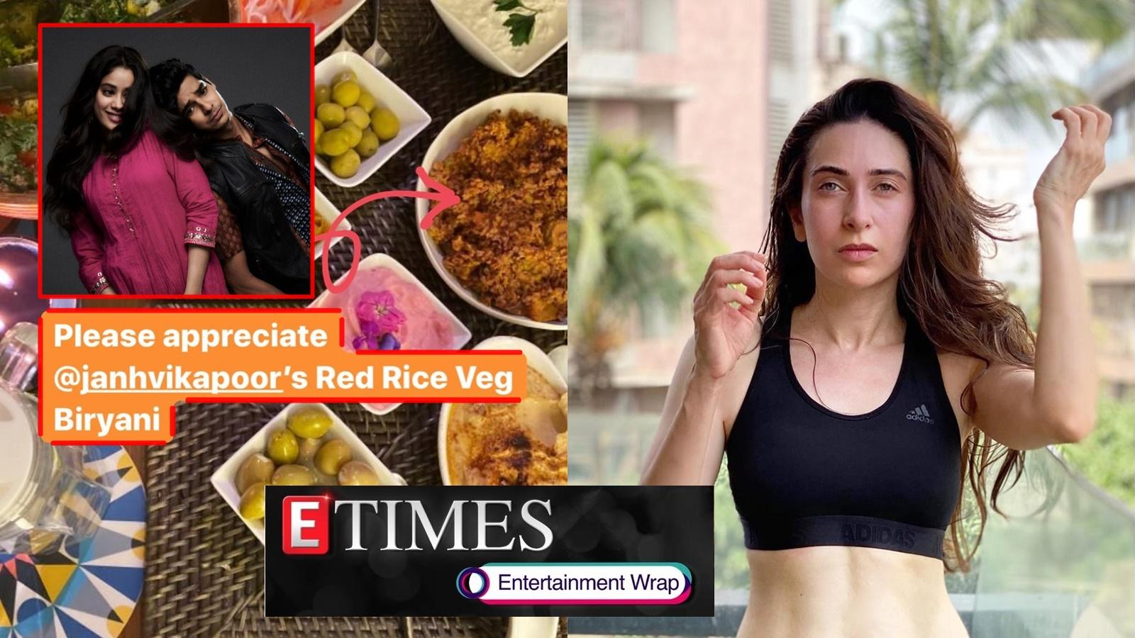 janhvi-kapoor-cooks-veg-biryani-for-ishaan-khatter-and-family-karisma-kapoor-flaunts-her-glam-avatar-in-sports-bra-and-more-