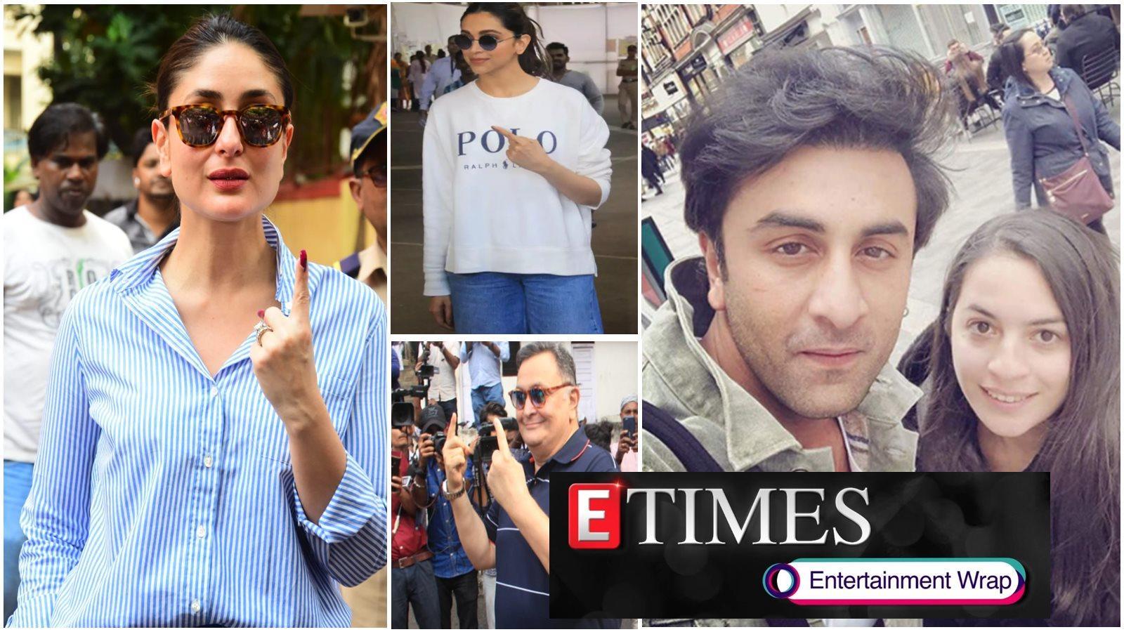 kareena-kapoor-deepika-padukone-cast-their-vote-in-mumbai-ranbir-kapoor-looks-dashing-as-he-poses-for-selfie-with-fan-in-london-and-more-