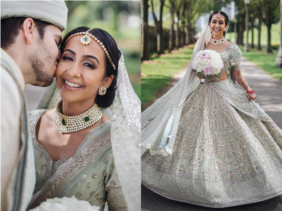 This Nri Bride Wore A Tea Green Lehenga For Her American Wedding