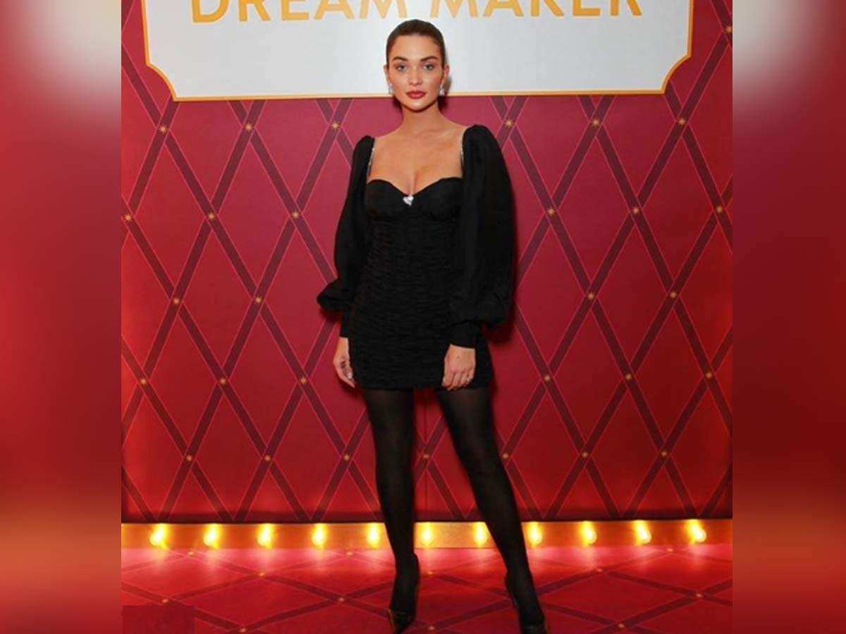 Amy Jackson looks super stylish in a black ensemble as she attends an event! - Times of India
