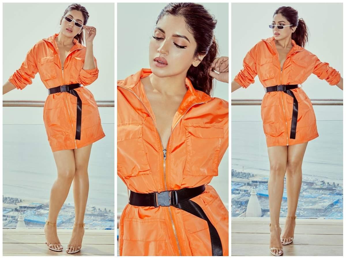 Photo: Bhumi Pednekar Expresses Her Love For Neon In A Tangerine Zipper Dress   Hindi Movie News