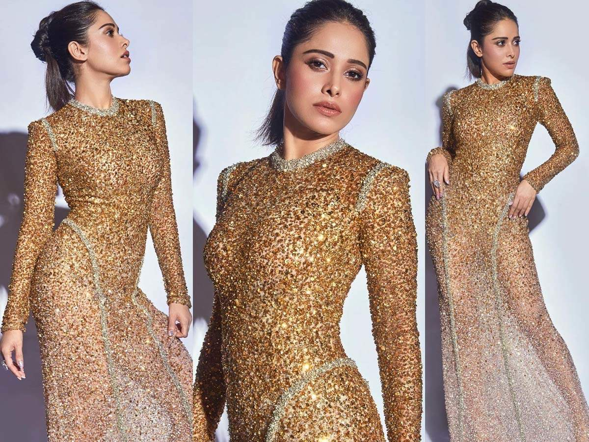 Photos: We Can't Stop Gushing Over Nushrat Bharucha's Shimmery Golden Gown | Hindi Movie News