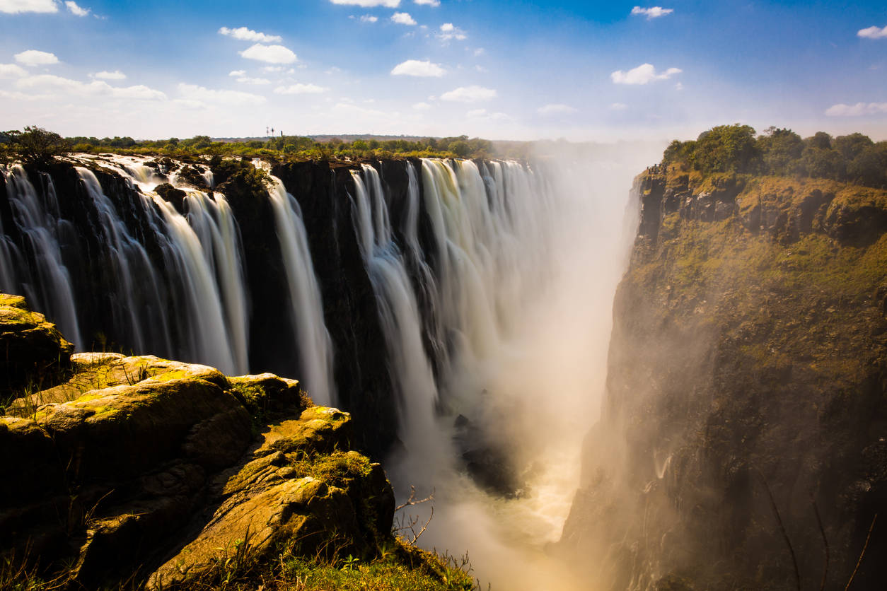 The magnificent Victoria Falls is hit by severe drought, and is almost dry