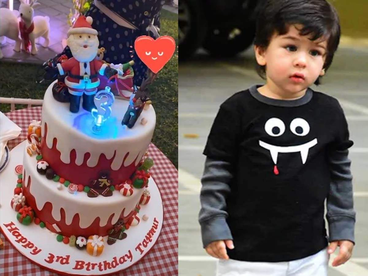 Remarkable Photo Taimur Ali Khan Cuts The Christmas Themed Cake On His 3Rd Funny Birthday Cards Online Overcheapnameinfo