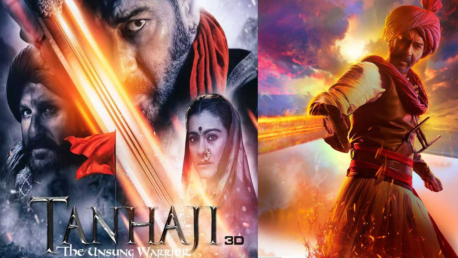 3D Monster Pon 'tanhaji: the unsung warrior' starring ajay devgn, kajol, saif ali khan  mints rs 15.10 crore on opening day