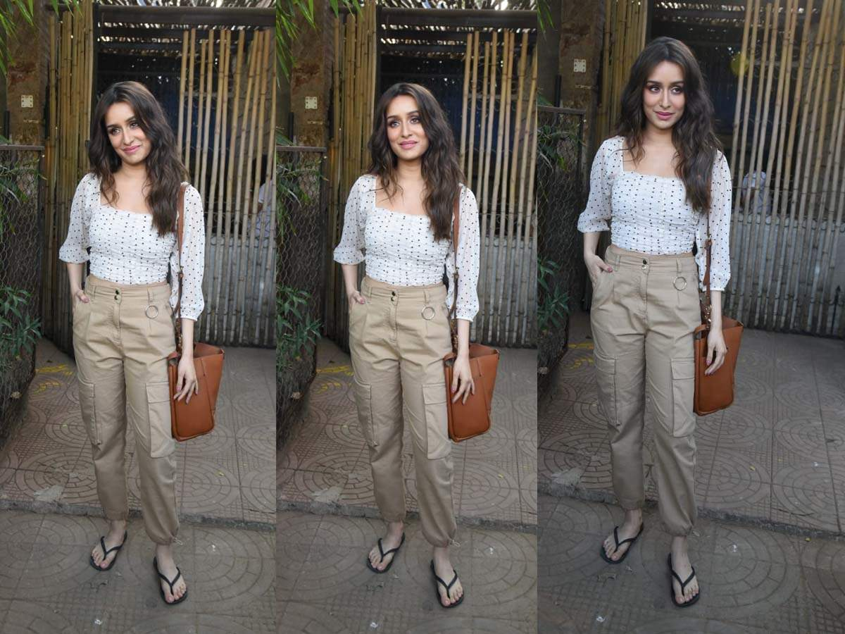 Photos: Shraddha Kapoor looks absolutely pretty as she teams up a white top with beige coloured pants for her outing