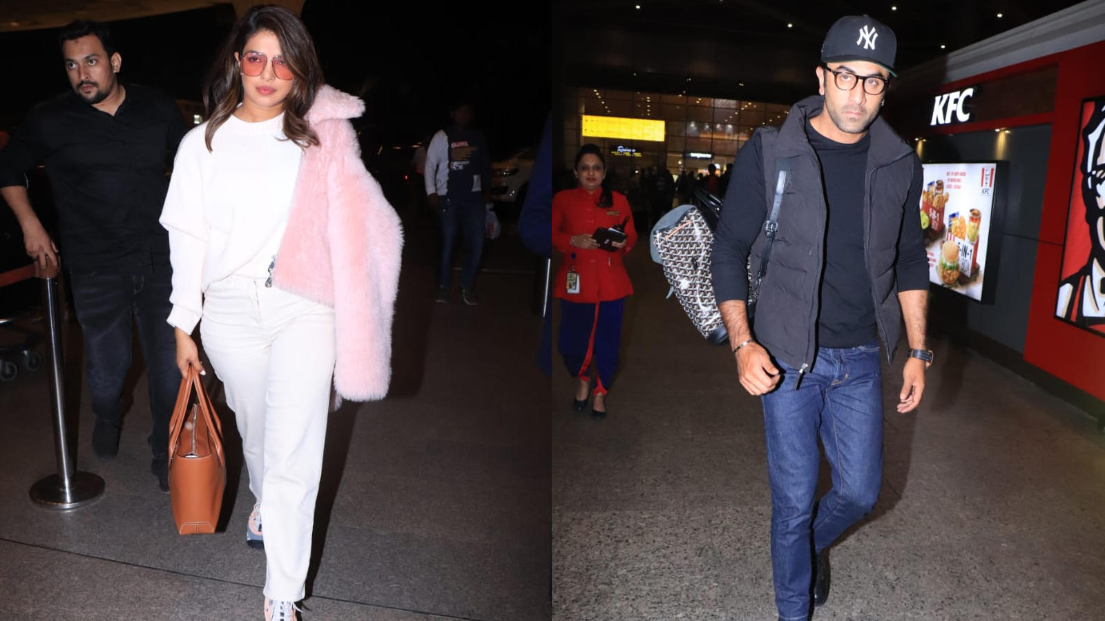 desi-girl-priyanka-chopra-spotted-wearing-an-all-white-outfit-with-a-fur-coat-ranbir-kapoor-clicked-in-an-all-black-outfit-at-mumbai-airport