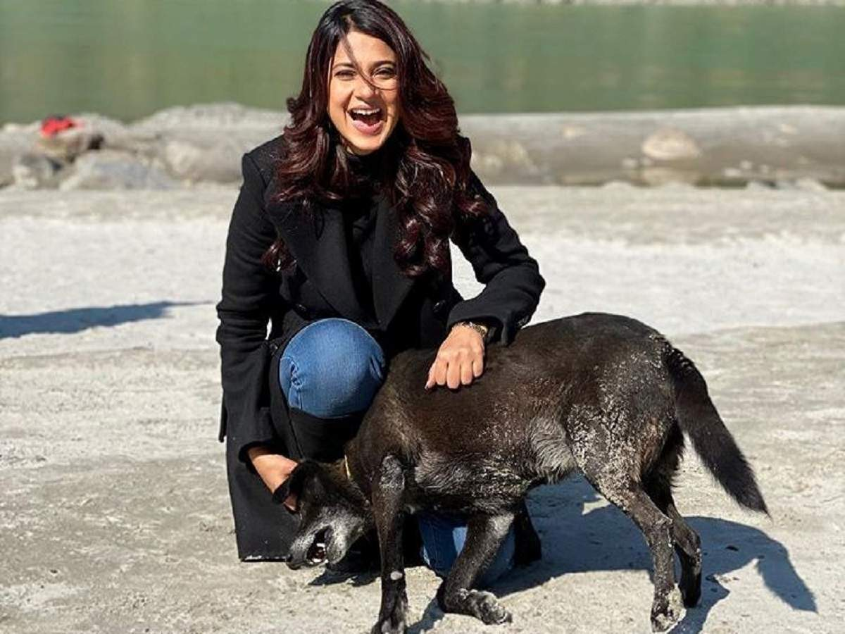 Jennifer Winget plays with a dog on sets of Beyhadh 2; calls it 'Maya's dog' - Times of India