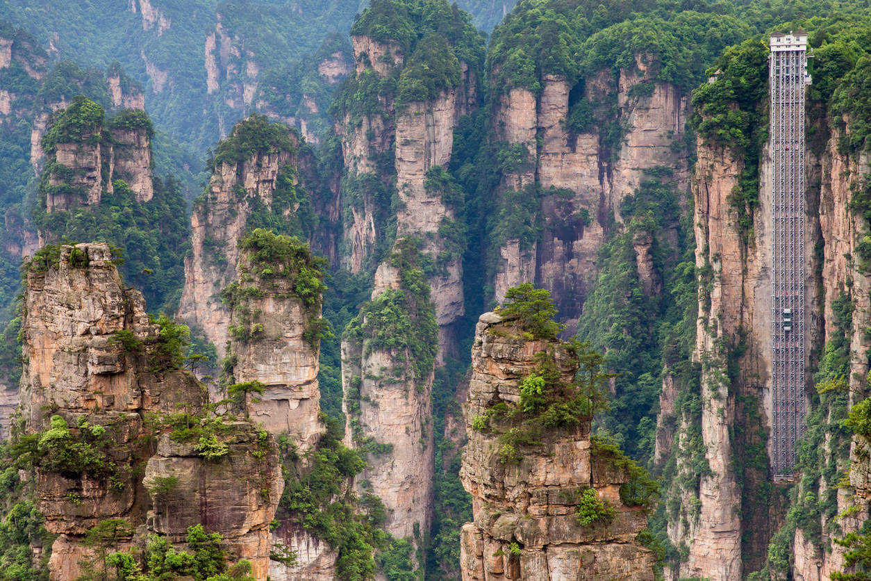 World's tallest elevator in China takes you through Avatar-like floating mountains