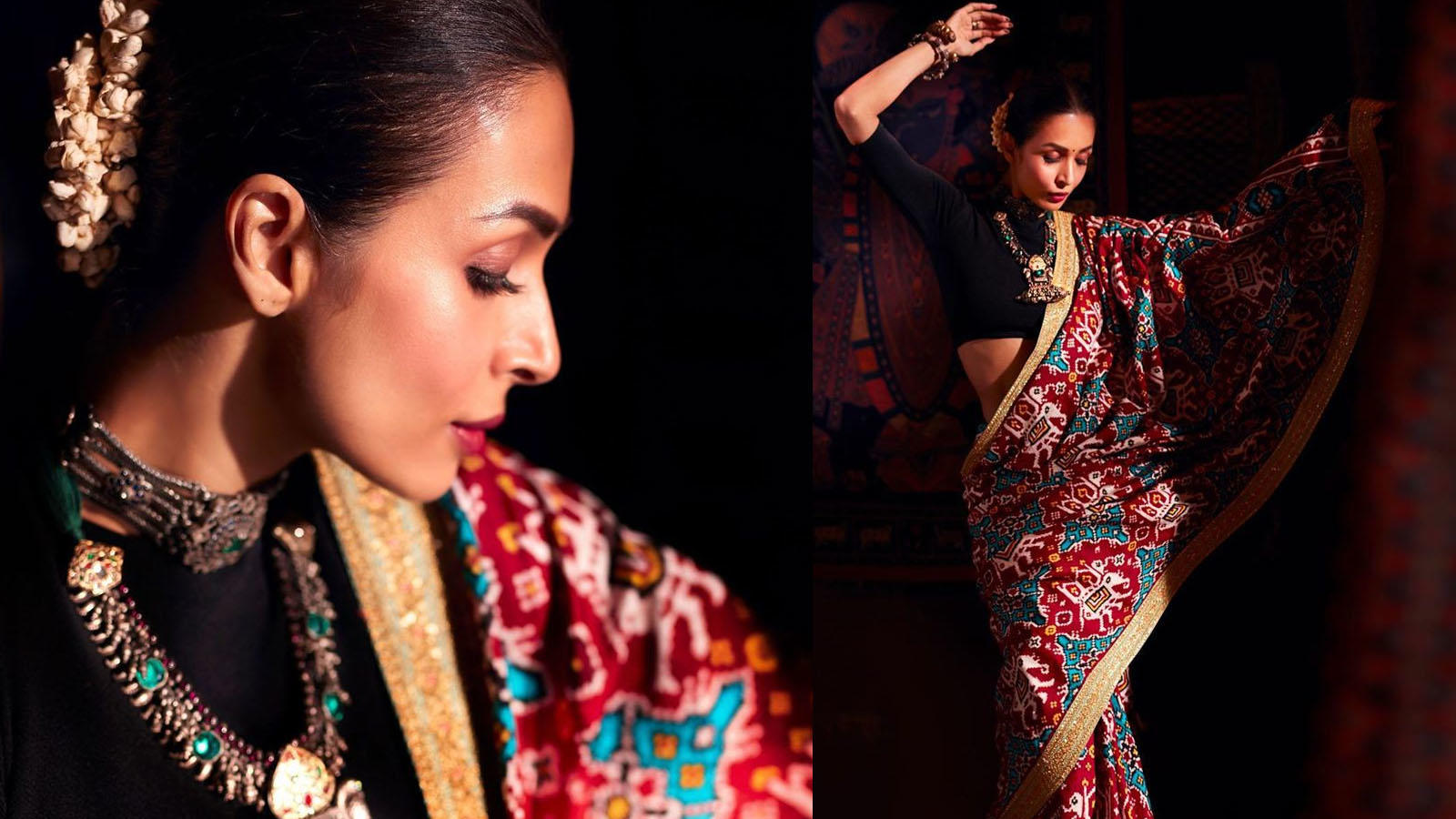 malaika-arora-opts-for-a-beautiful-multi-coloured-sari-leaving-us-all-stunned-with-her-desi-avatar
