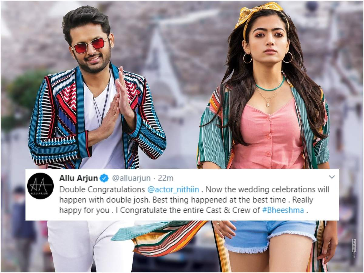 Allu Arjun Heap Praises On Bheeshma Double Congrats Nithiin For The Success And Marriage Telugu Movie News Times Of India