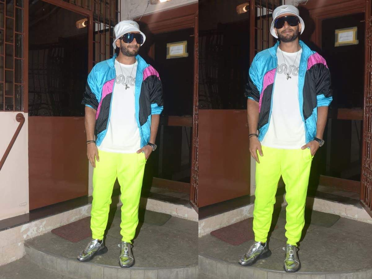 Ranveer Singh opts for vibrant look for his dubbing studio visit; pairs neon pants with white t-shirt and thumbnail