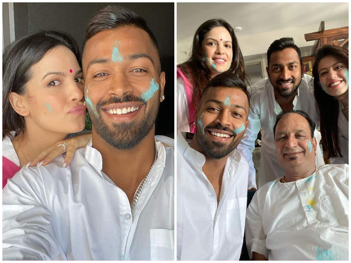 Image result for hardik pandya and natasha holi celebration