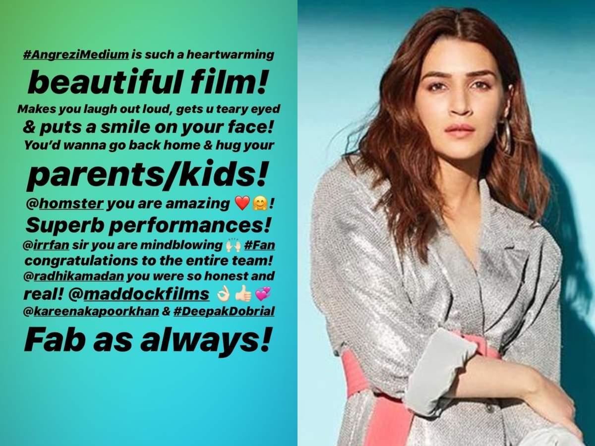 Kriti Sanon is all praise for Irrfan Khan and Radhika Madan starrer 'Angrezi Medium' thumbnail