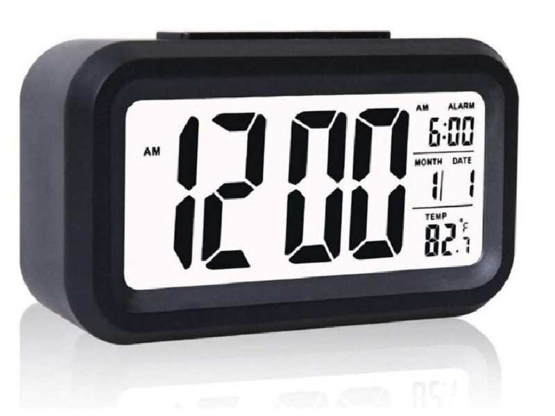 Digital LED Alarm Clock Large Display Backlight Snooze Talking Date Temperature