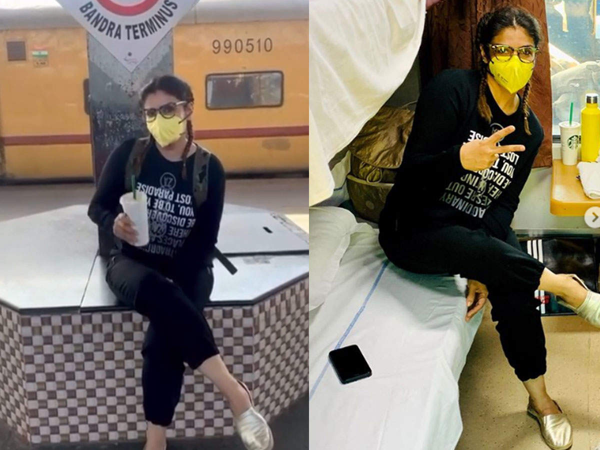 Watch: Raveena Tandon shares video of herself disinfecting train berth, advises people to travel only if thumbnail