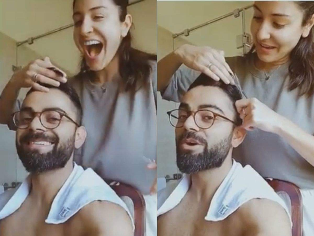 Anushka turns hairstylist for Virat
