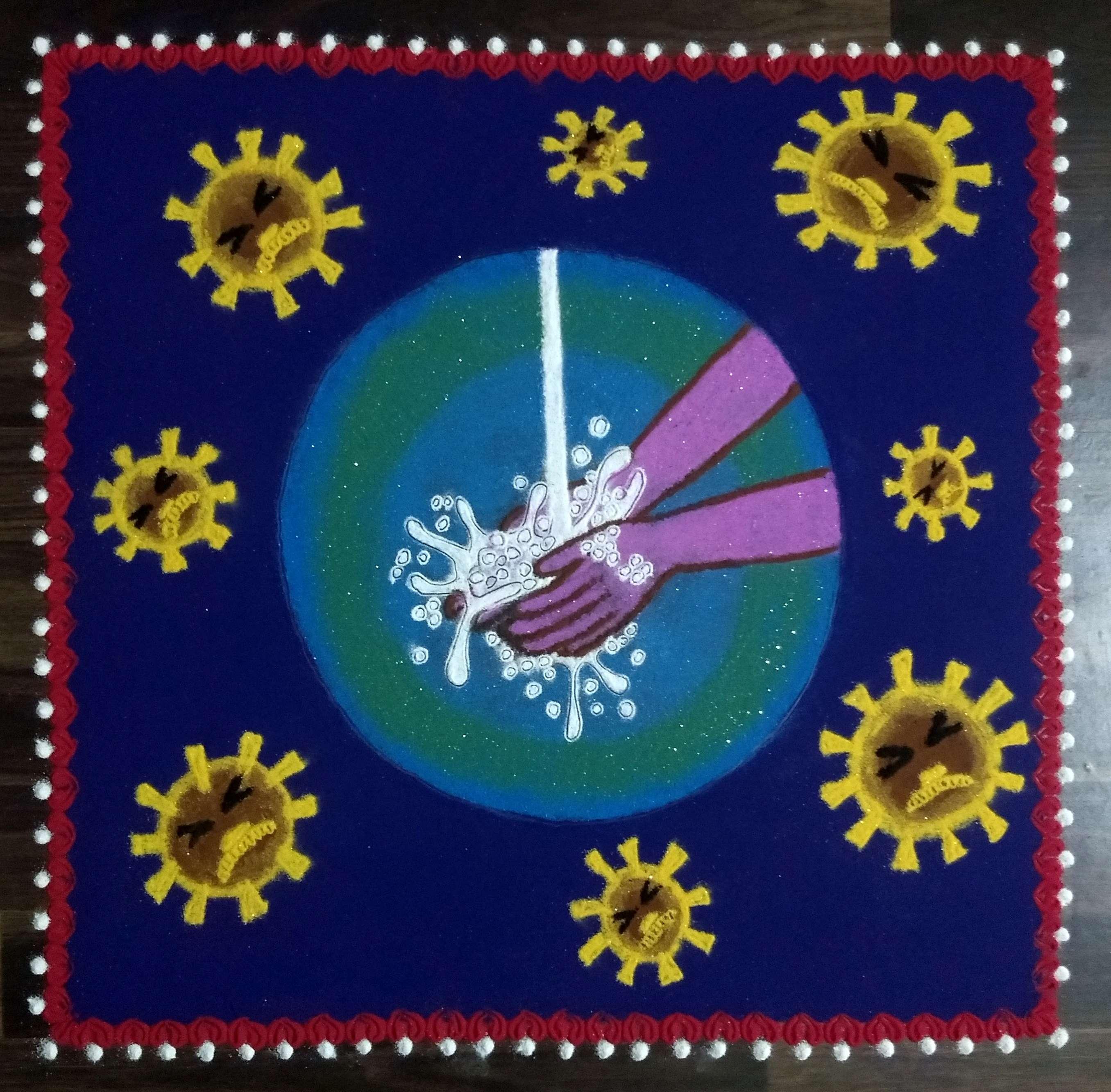 Thilagalakshmi Sridharan Creating Awareness On Coronavirus Using Kolam Times Of India Beautiful woman's day rangoli/8 march rangoli design. coronavirus using kolam