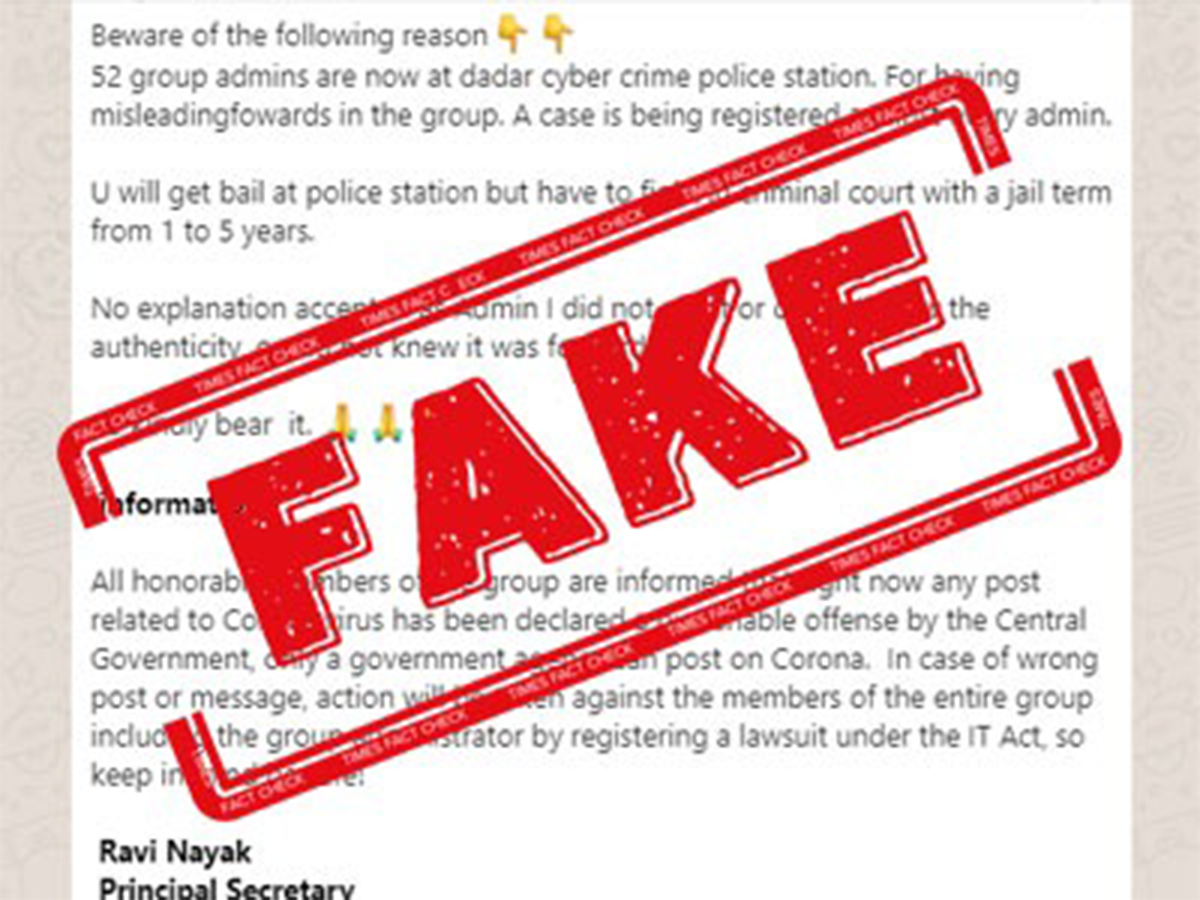 Fake Alert No Whatsapp Group Admins Were Not Detained For Covid 19 Fake News Times Of India