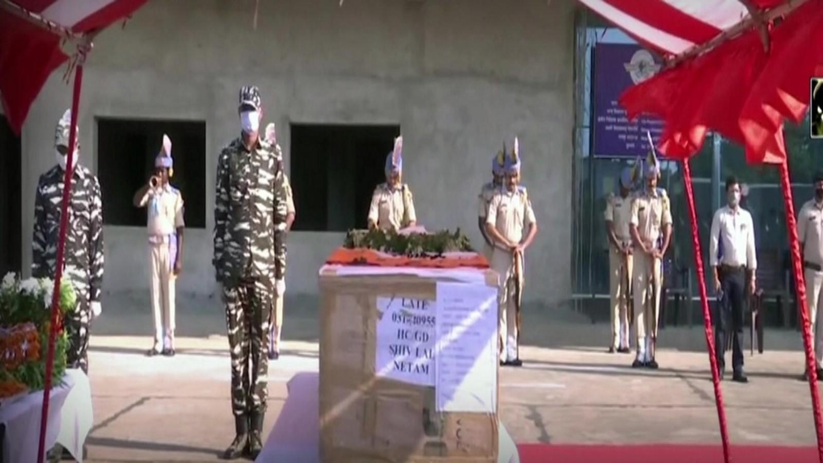 anantnag-encounter-wreath-laying-ceremony-of-crpf-jawan-shiv-lal-netam-held-in-raipur