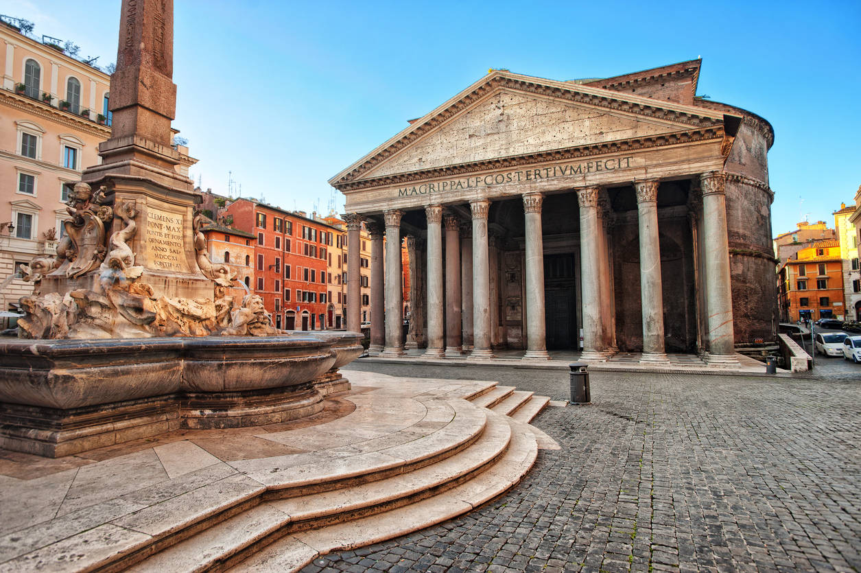 Ancient Roman stones found near the Pantheon in Rome