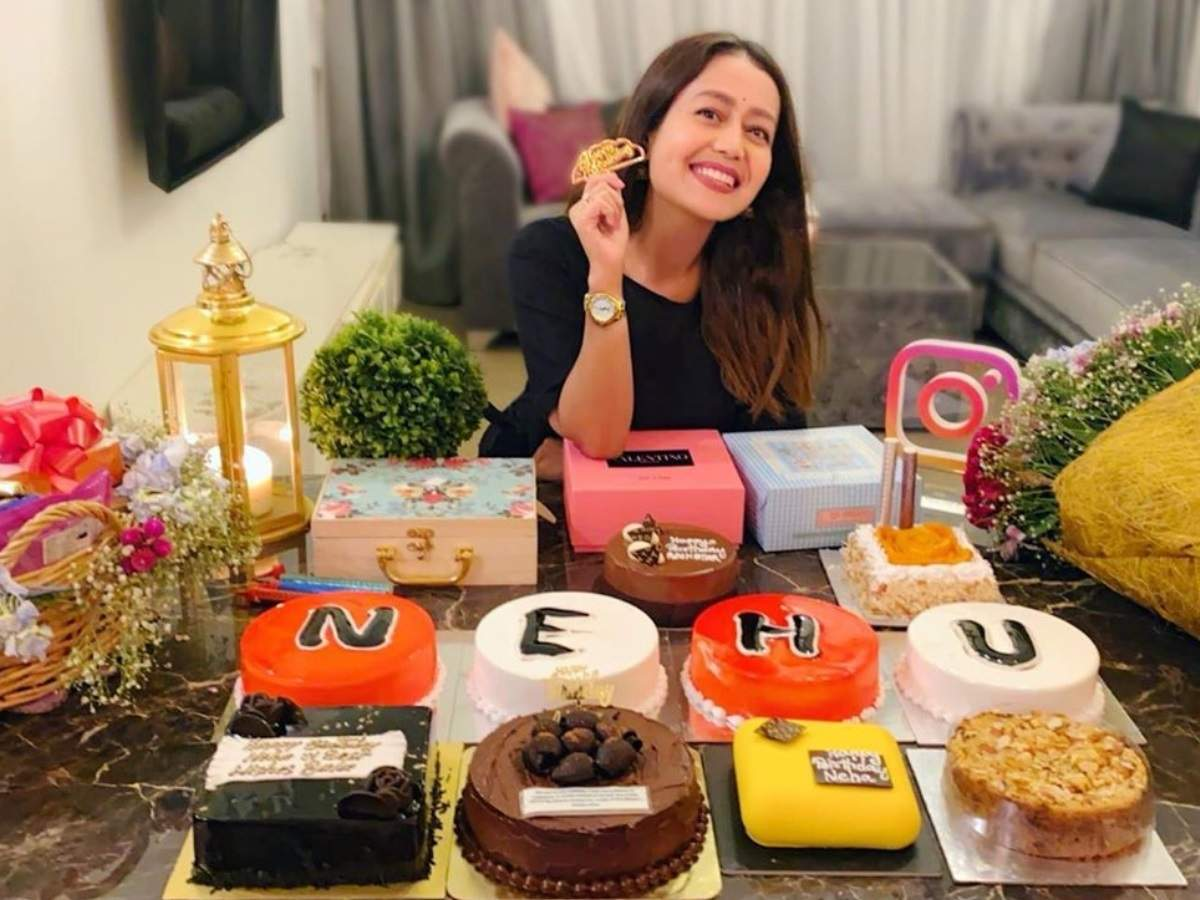 Neha Kakkar Receives Several Cakes Bouquets And Gifts On Her 32nd Birthday Shares A Glimpse On Her Social Media Times Of India
