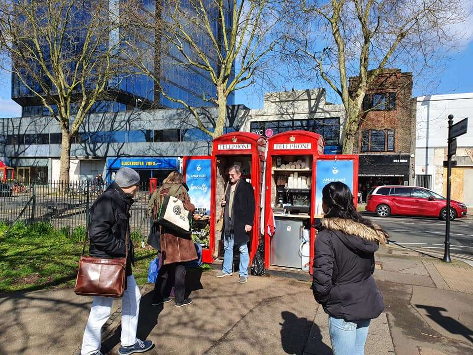 A phone booth in London is now a mini cafe