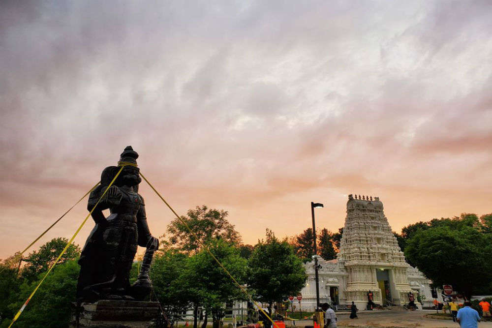 A 25-feet-tall Hanuman statue shipped from Telangana and installed in Delaware, USA