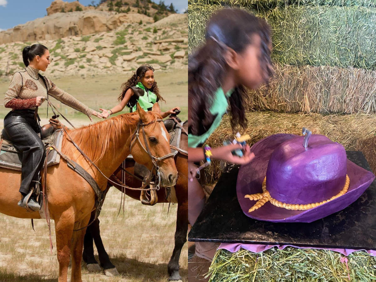 Kim Kardashian Shares Horse Riding Pictures Hat Shaped Cake And More Pics From Daughter North S Seventh Birthday Bash Times Of India
