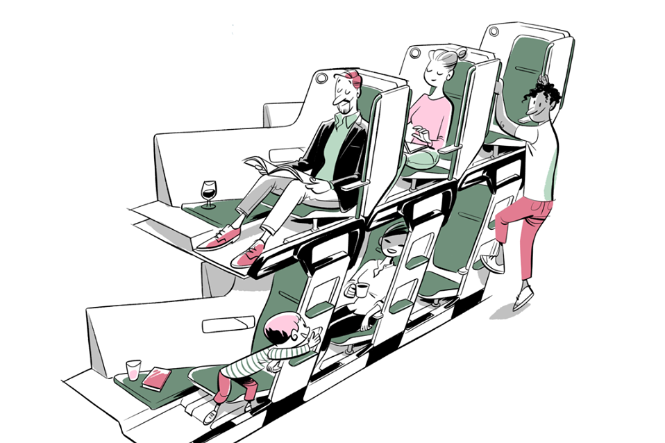 A double-decker seating arrangement could be the future of air travel