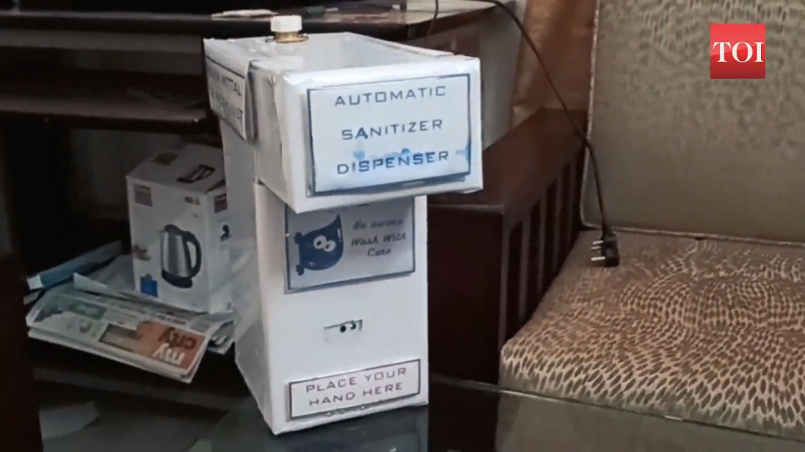 Uiet Student Makes Hands Free Sanitiser Dispenser City Times Of India Videos