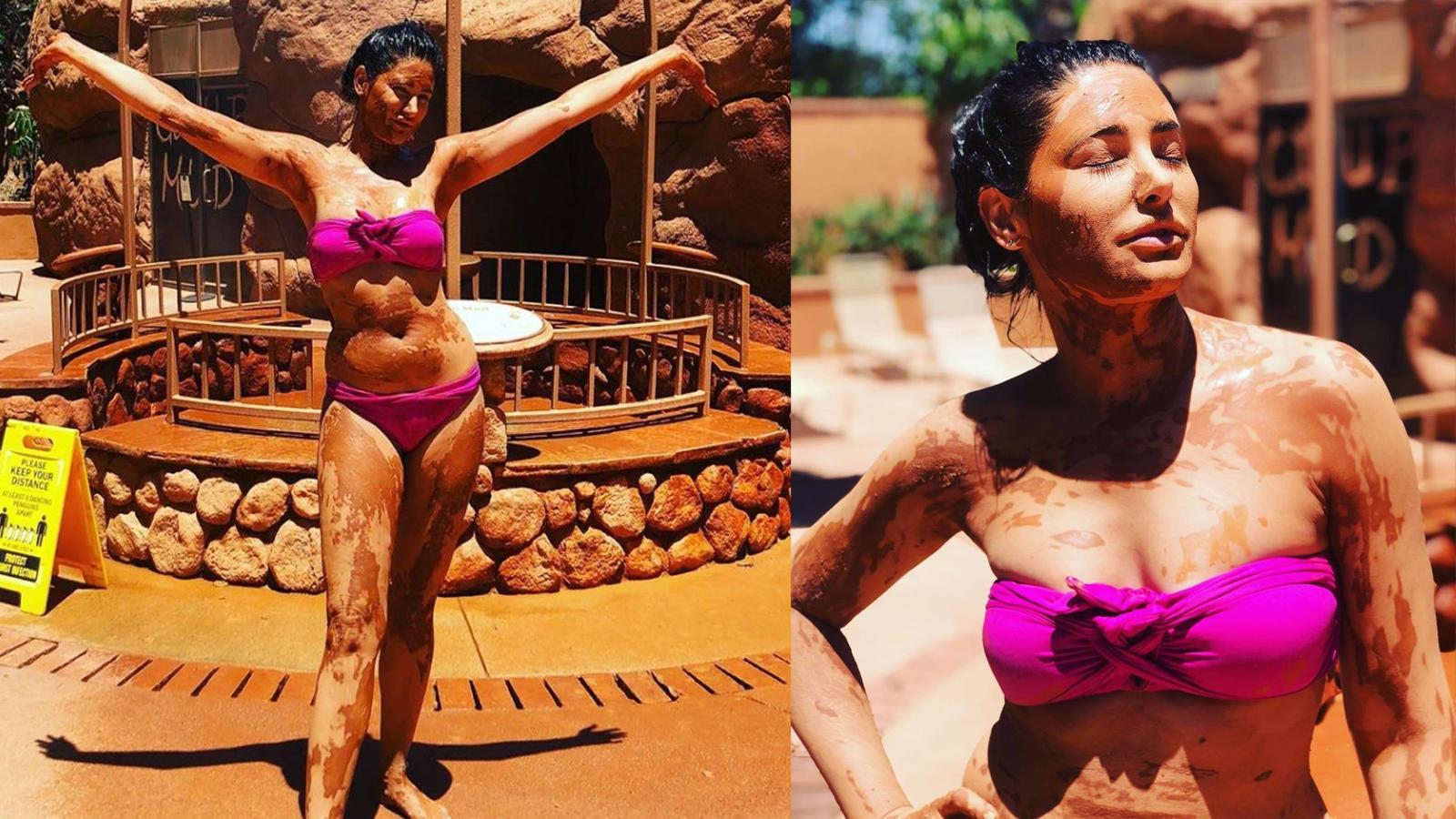 nargis-fakhri-looks-bewitching-in-a-stylish-bikini-as-she-enjoys-mud-bath-in-california