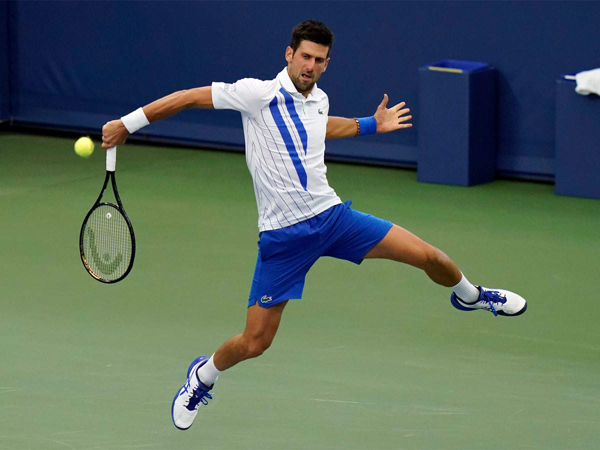 Novak Djokovic In Action On Day One At Us Open Bubble Tennis News Times Of India
