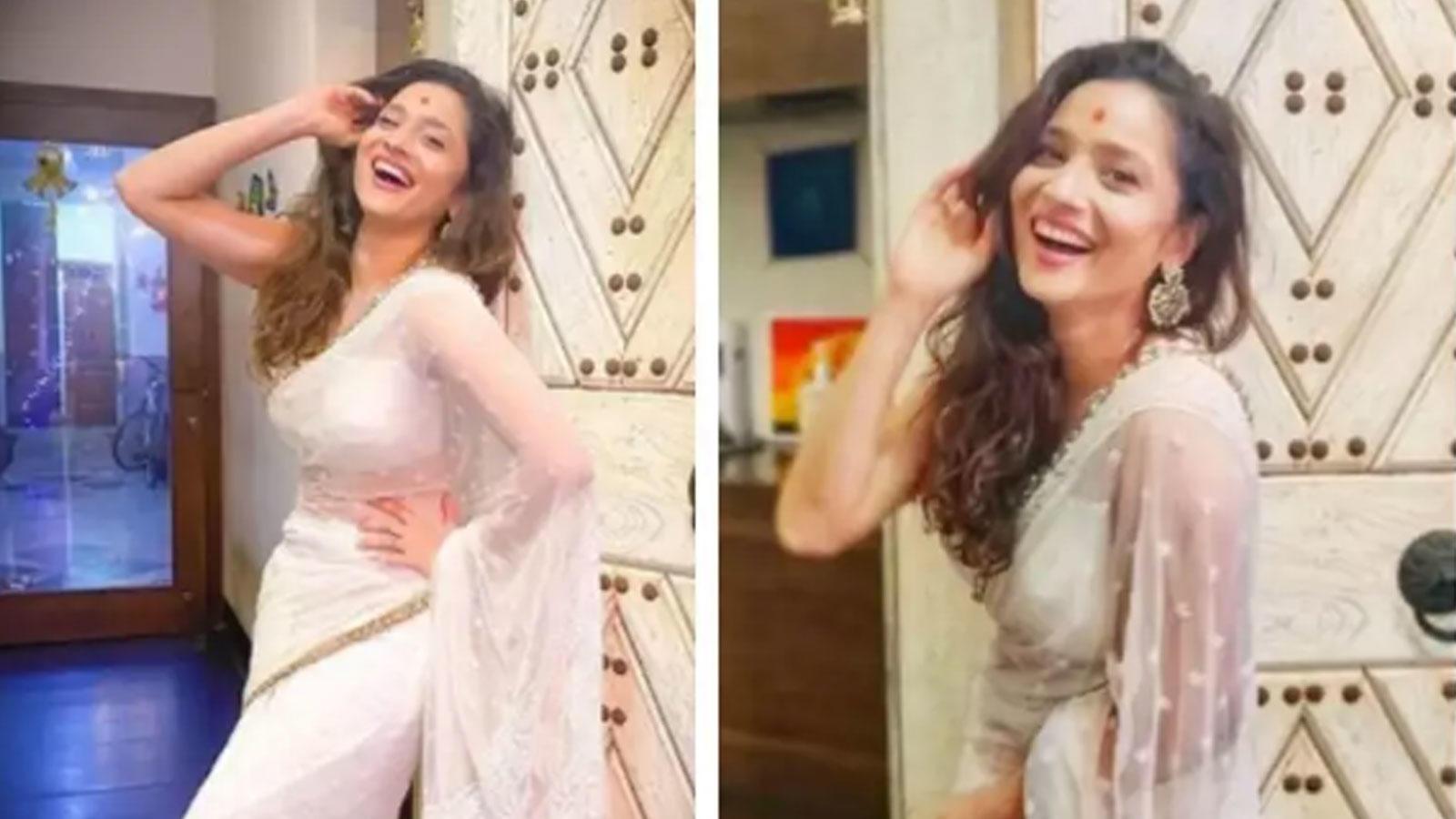 ankita-lokhande-stuns-in-a-gorgeous-white-saree