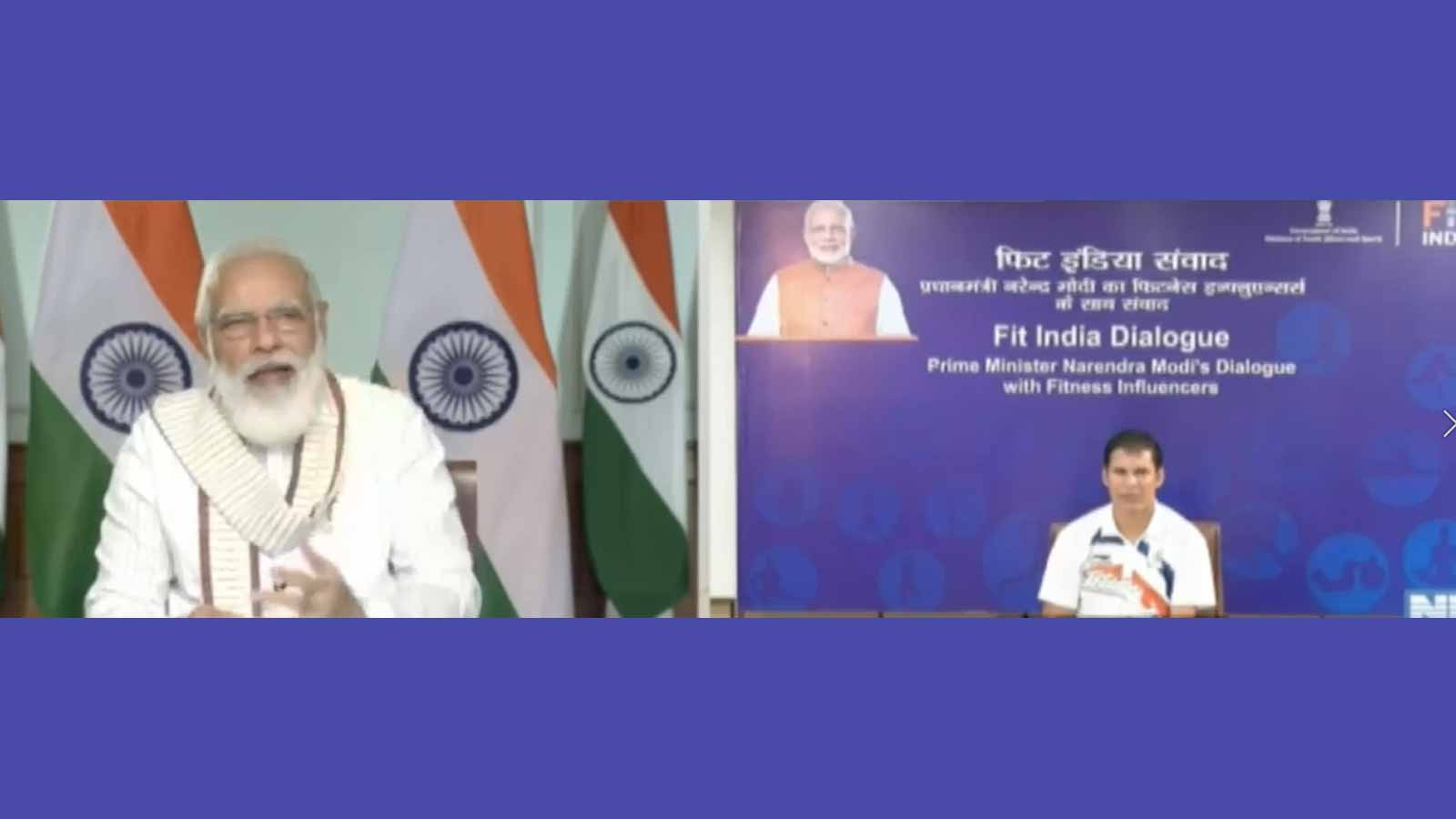 fit-india-dialogue-2020-pm-narendra-modi-interacts-with-paralympic-javelin-gold-medallist-devender-jhajharia