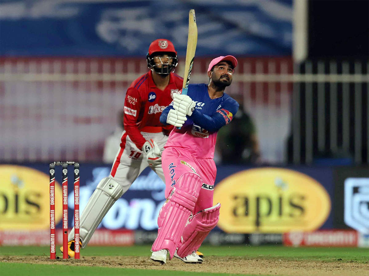 RR vs KXIP, IPL 2020: Sensational Tewatia hits five sixes in an over to  take RR to incredible win over KXIP | Cricket News - Times of India