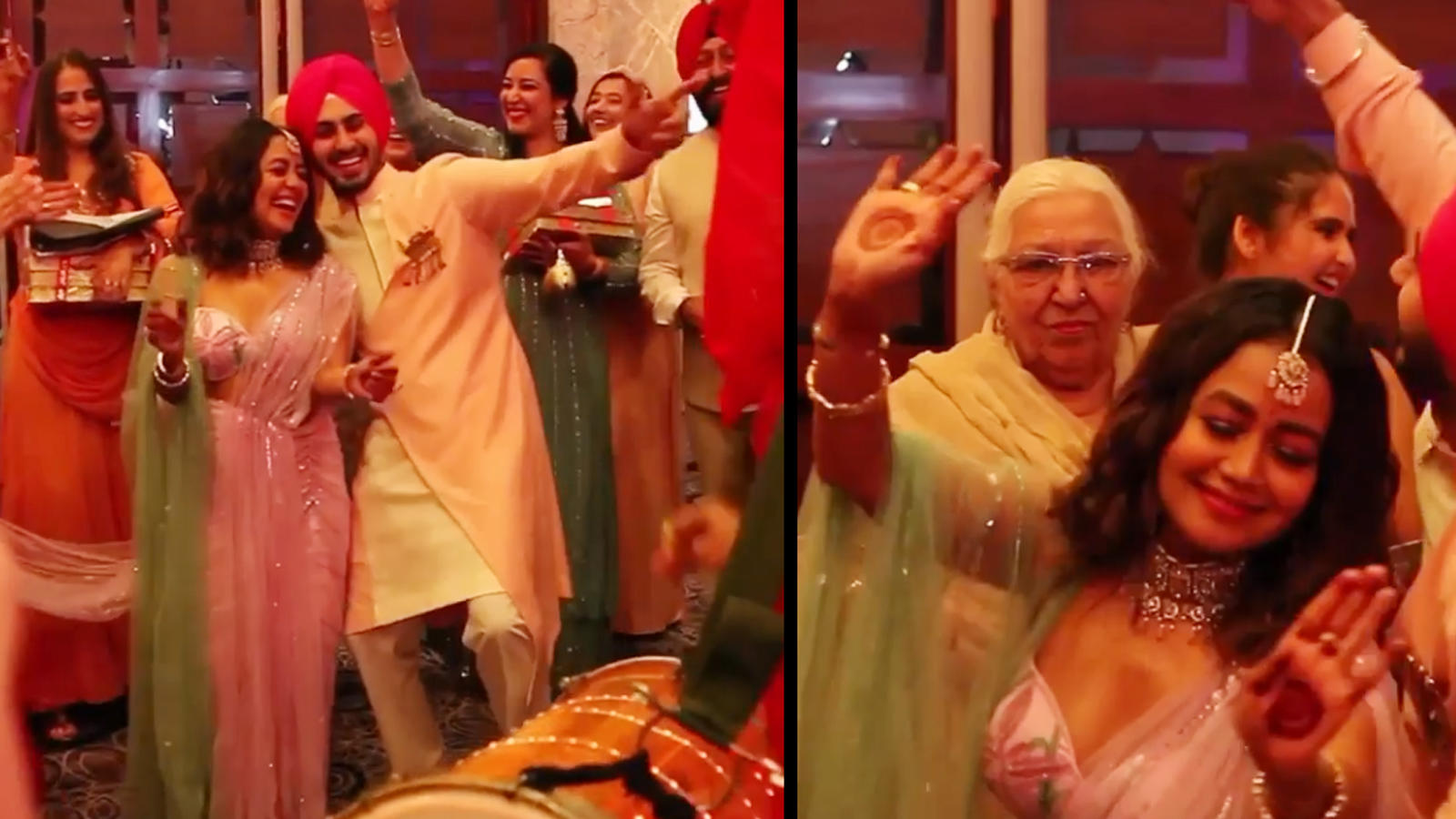 watch-neha-kakkar-and-rohanpreet-singh-dance-to-bhangra-beats-at-their-roka-ceremony